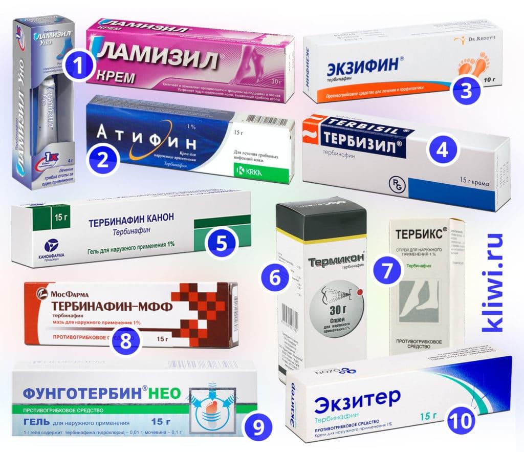 Препараты с тербинафином для наружного применения